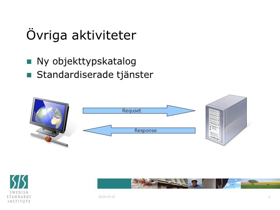 Övriga aktiviteter Ny objekttypskatalog Standardiserade tjänster