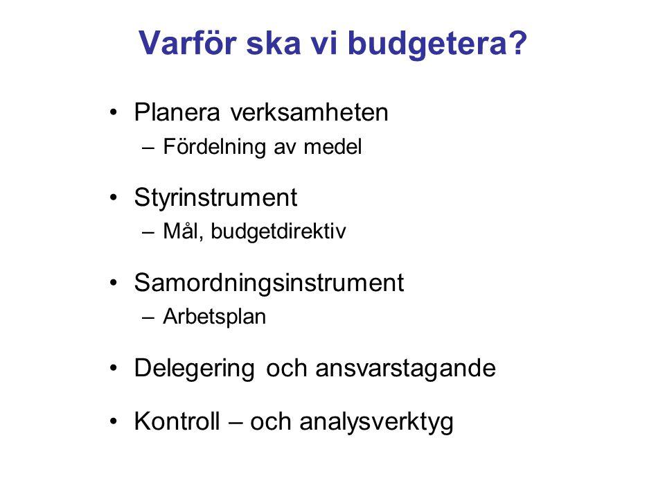 Varför ska vi budgetera