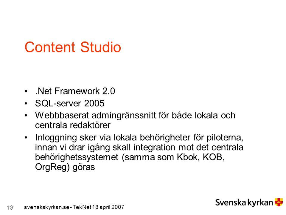 Content Studio .Net Framework 2.0 SQL-server 2005