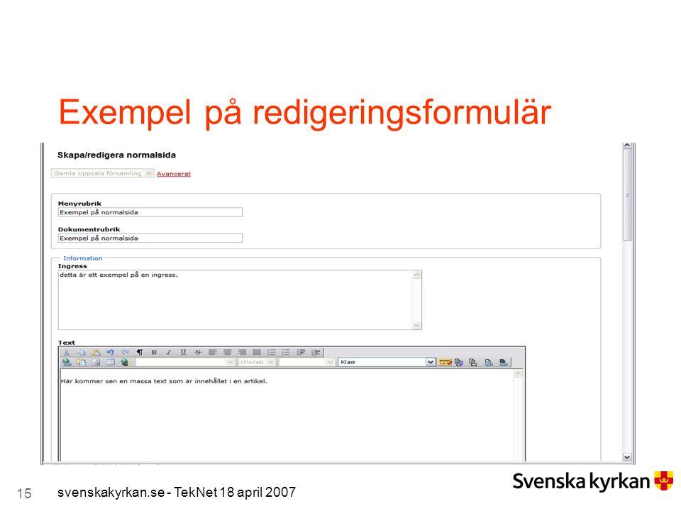 Exempel på redigeringsformulär
