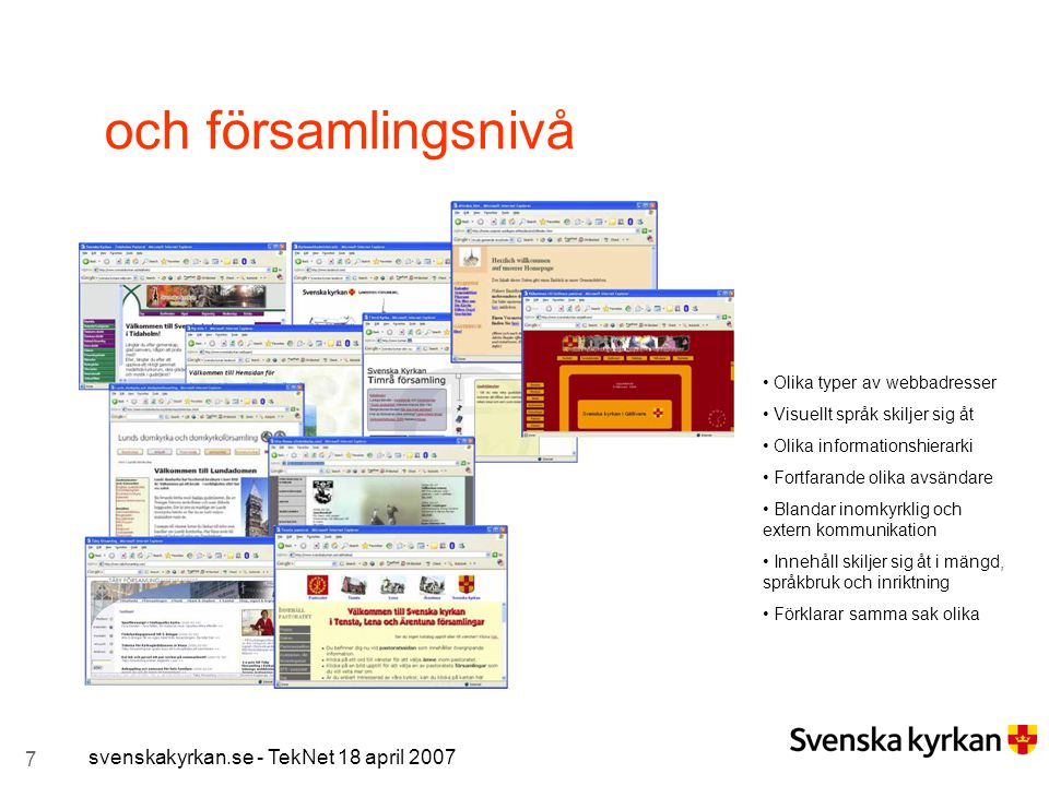 och församlingsnivå svenskakyrkan.se - TekNet 18 april 2007