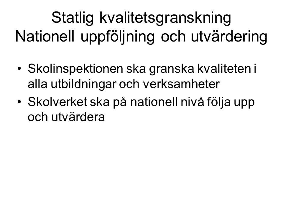 Statlig kvalitetsgranskning Nationell uppföljning och utvärdering