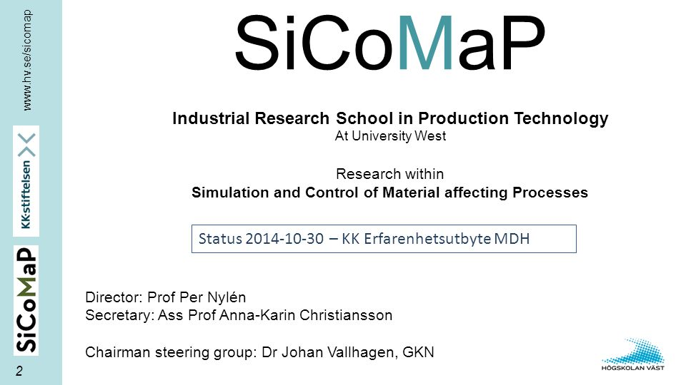 SiCoMaP Industrial Research School in Production Technology At University West Research within Simulation and Control of Material affecting Processes