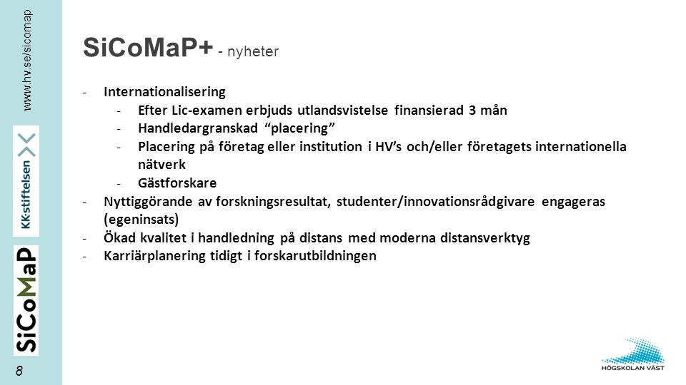 SiCoMaP+ - nyheter Internationalisering