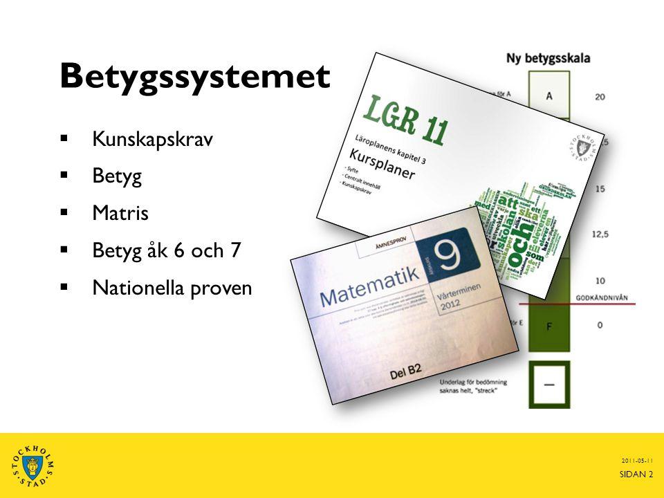 Betygssystemet Kunskapskrav Betyg Matris Betyg åk 6 och 7