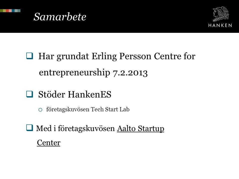 Samarbete Har grundat Erling Persson Centre for