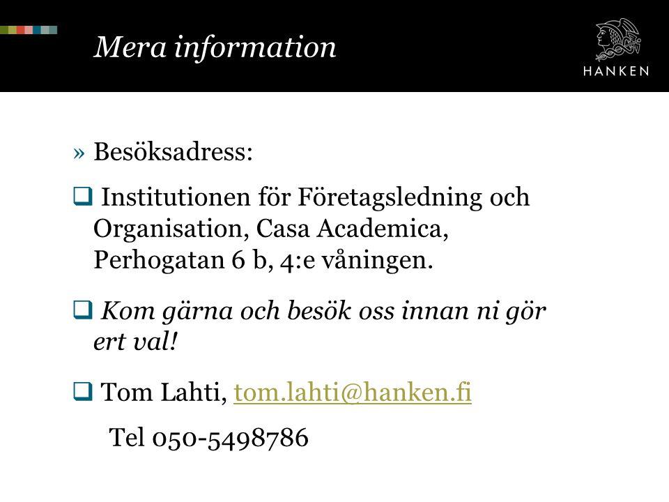 Mera information Besöksadress: