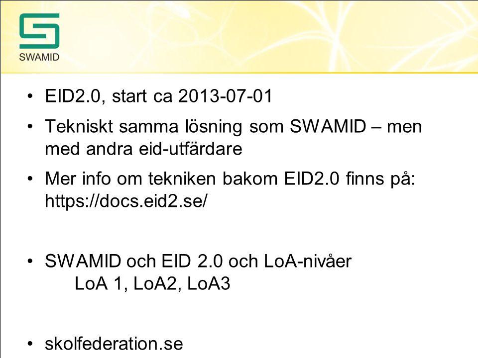 EID2.0, start ca 2013-07-01 Tekniskt samma lösning som SWAMID – men med andra eid-utfärdare.