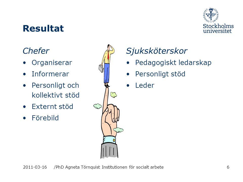Resultat Chefer Sjuksköterskor Organiserar Informerar