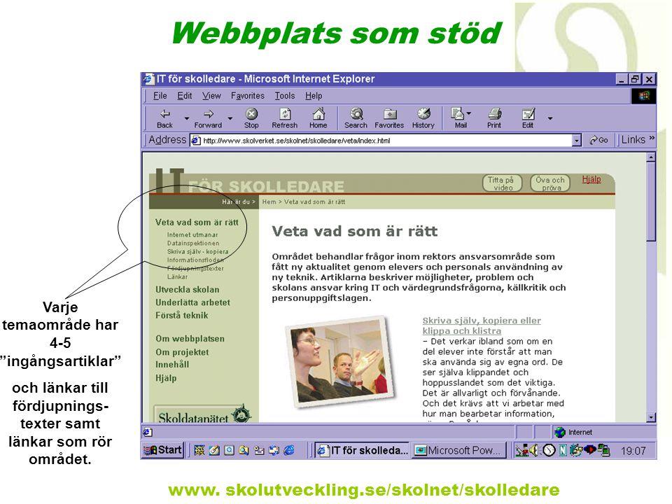 Webbplats som stöd www. skolutveckling.se/skolnet/skolledare