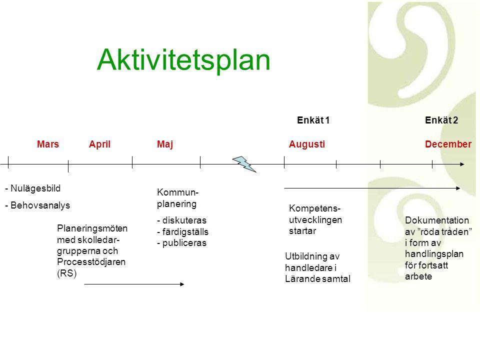 Aktivitetsplan Enkät 1 Enkät 2 Mars April Maj Augusti December