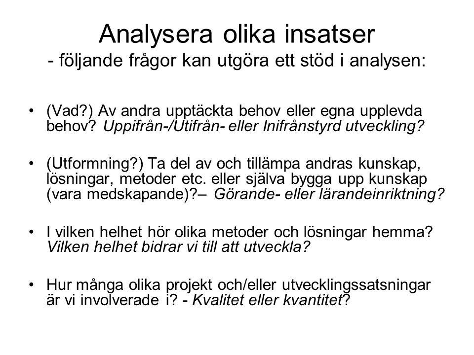 Analysera olika insatser - följande frågor kan utgöra ett stöd i analysen: