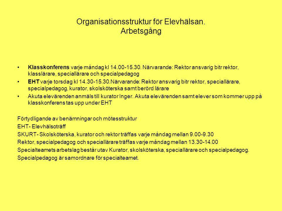 Organisationsstruktur för Elevhälsan. Arbetsgång