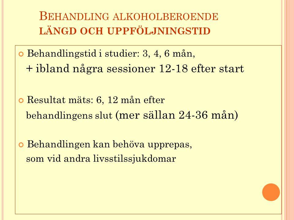 Behandling alkoholberoende längd och uppföljningstid