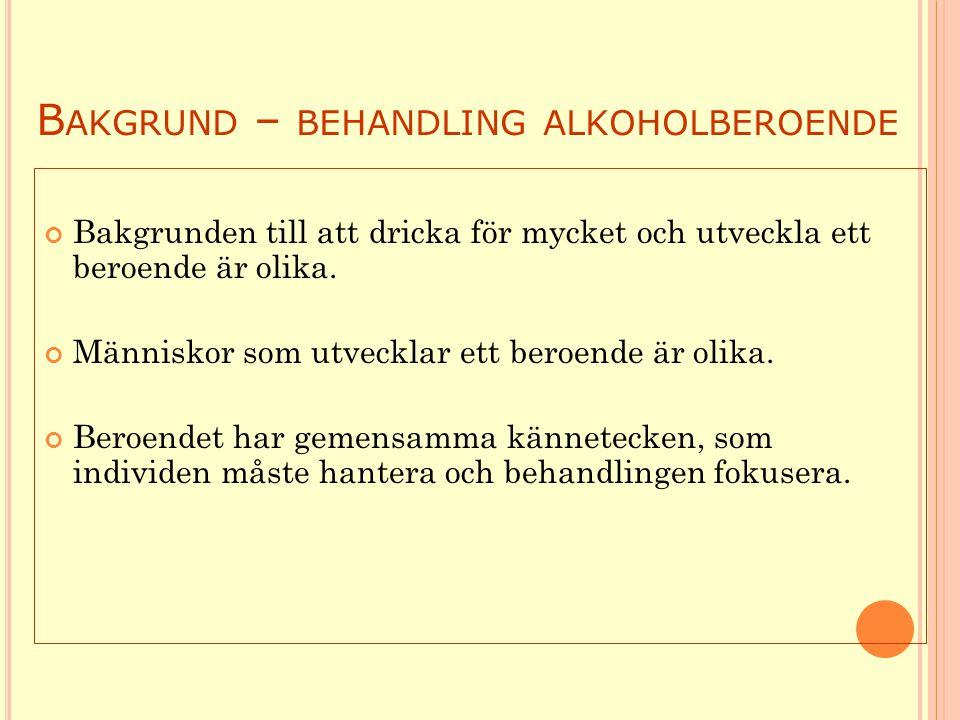 Bakgrund – behandling alkoholberoende