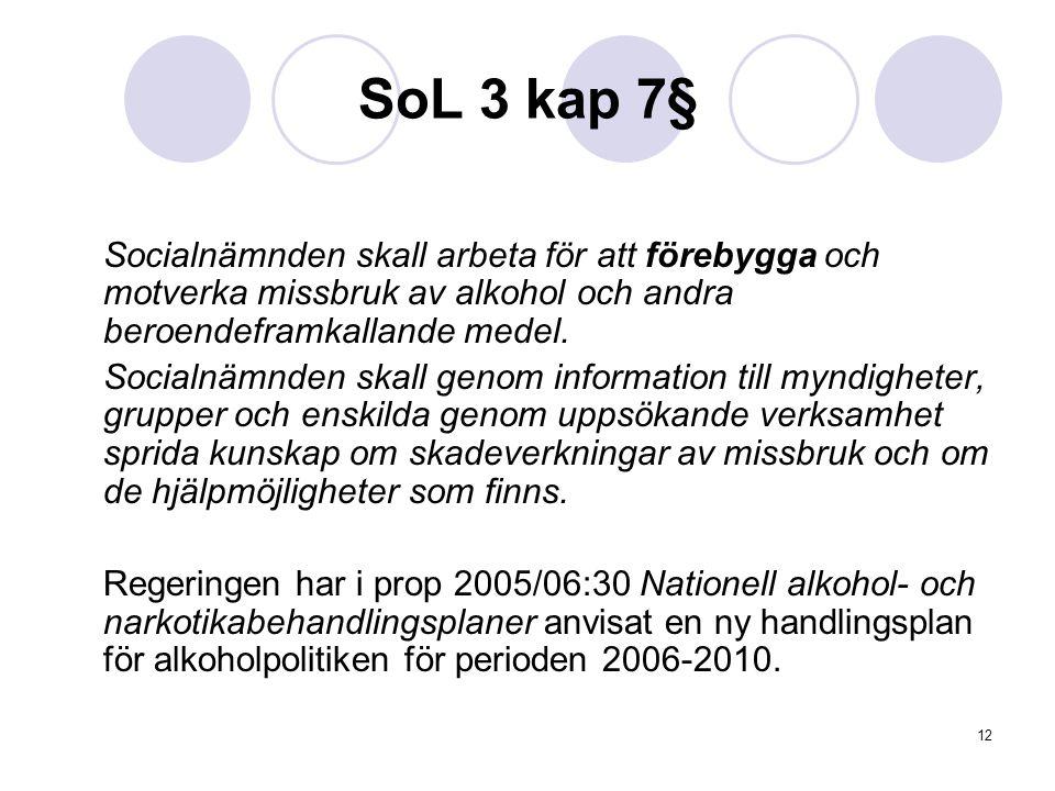 SoL 3 kap 7§ Socialnämnden skall arbeta för att förebygga och motverka missbruk av alkohol och andra beroendeframkallande medel.
