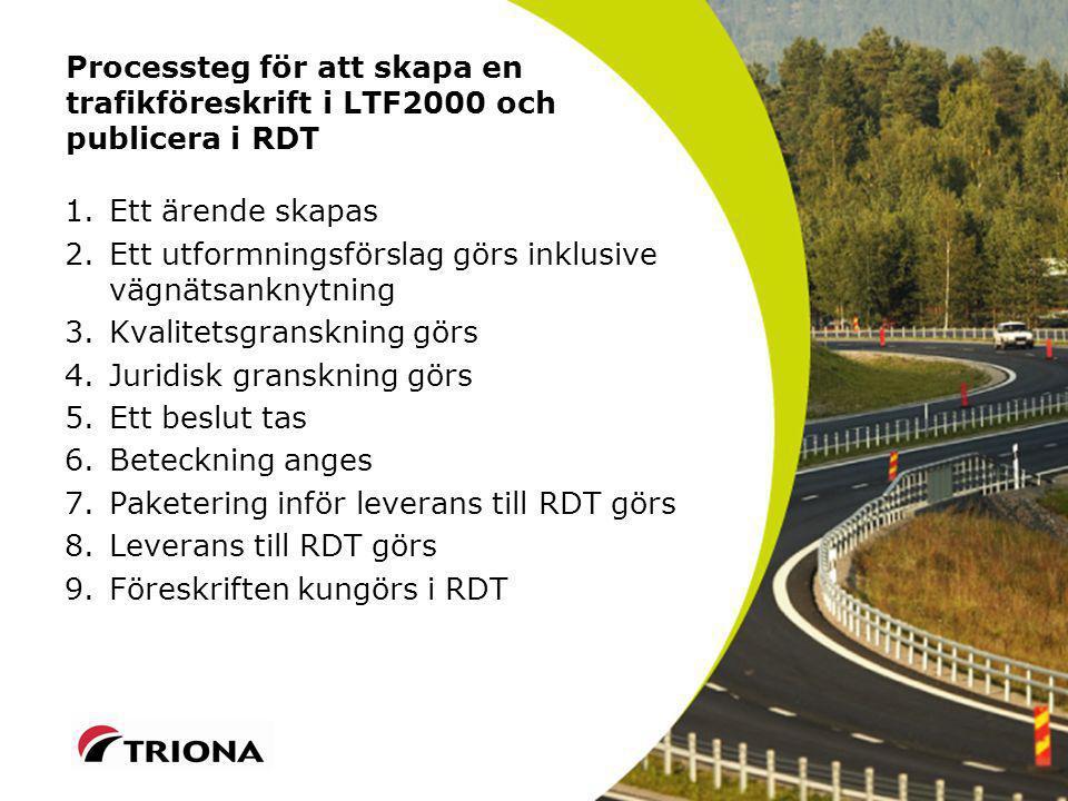 Processteg för att skapa en trafikföreskrift i LTF2000 och publicera i RDT