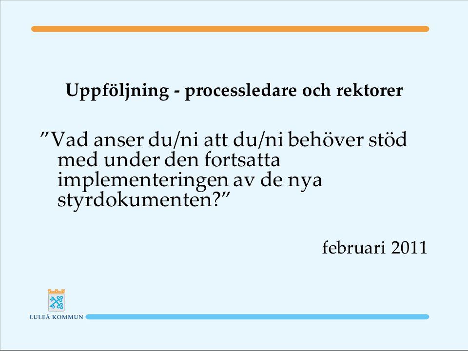 Uppföljning - processledare och rektorer