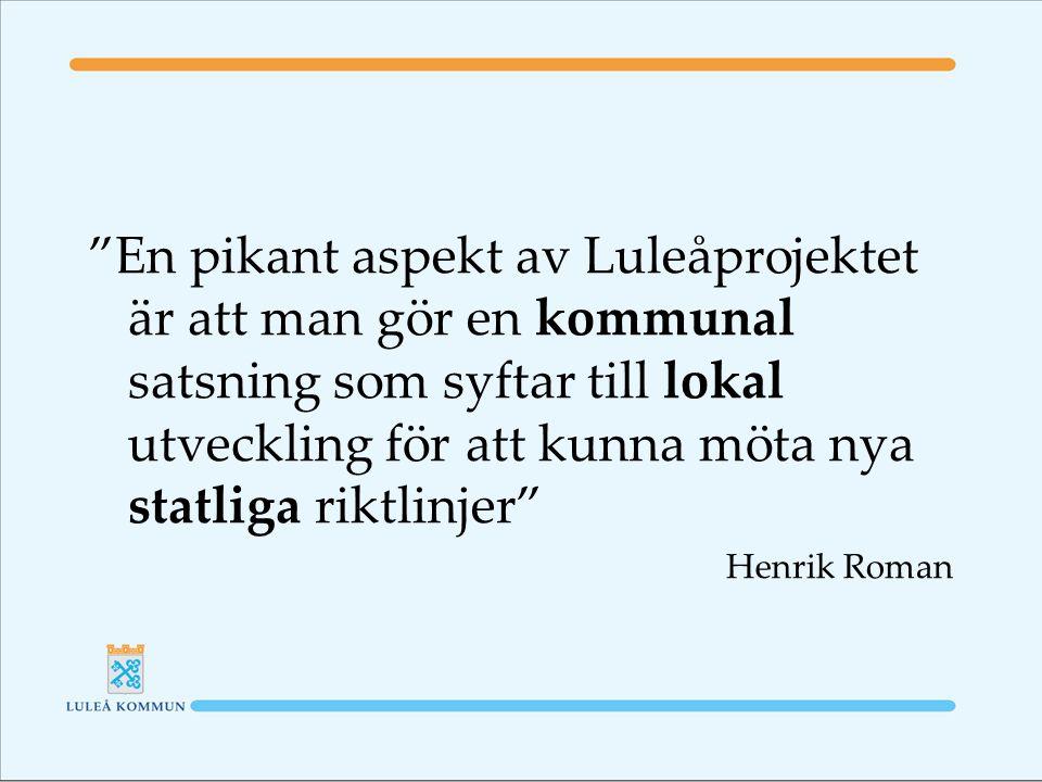 En pikant aspekt av Luleåprojektet är att man gör en kommunal satsning som syftar till lokal utveckling för att kunna möta nya statliga riktlinjer