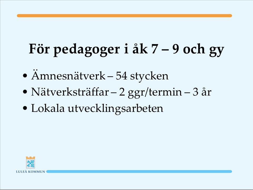 För pedagoger i åk 7 – 9 och gy