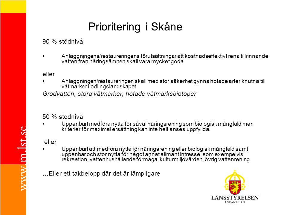 Prioritering i Skåne 90 % stödnivå eller