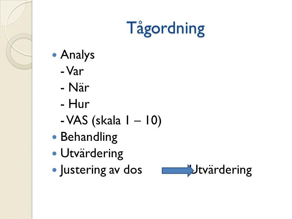 Tågordning Analys - Var - När - Hur - VAS (skala 1 – 10) Behandling