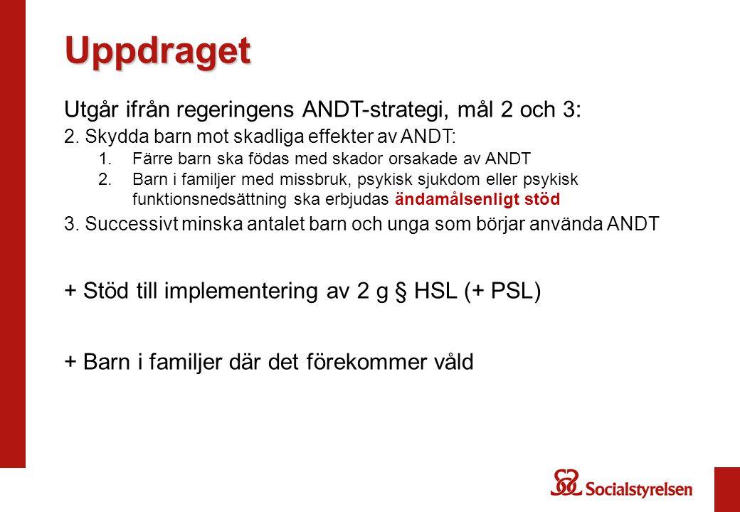 Uppdraget Utgår ifrån regeringens ANDT-strategi, mål 2 och 3: