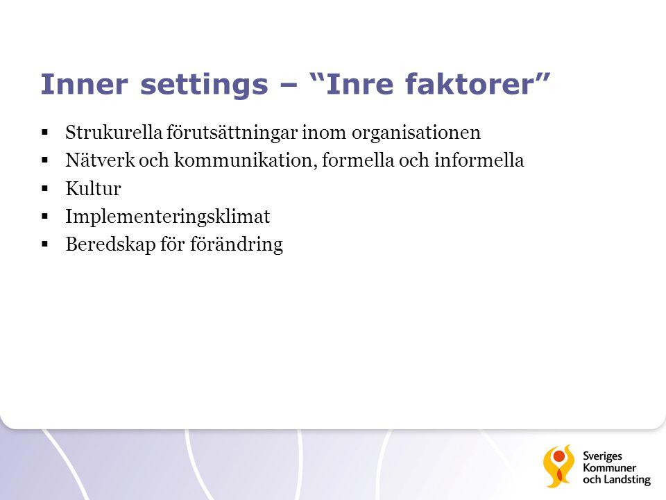 Inner settings – Inre faktorer