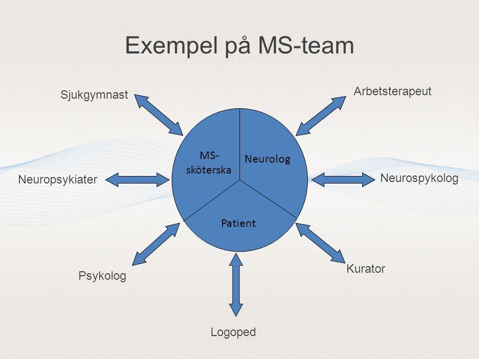 Exempel på MS-team Arbetsterapeut Sjukgymnast MS- Neurolog sköterska