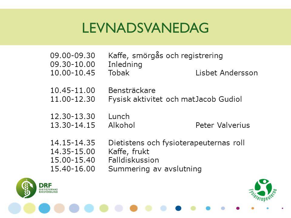 LEVNADSVANEDAG 09.00-09.30 Kaffe, smörgås och registrering