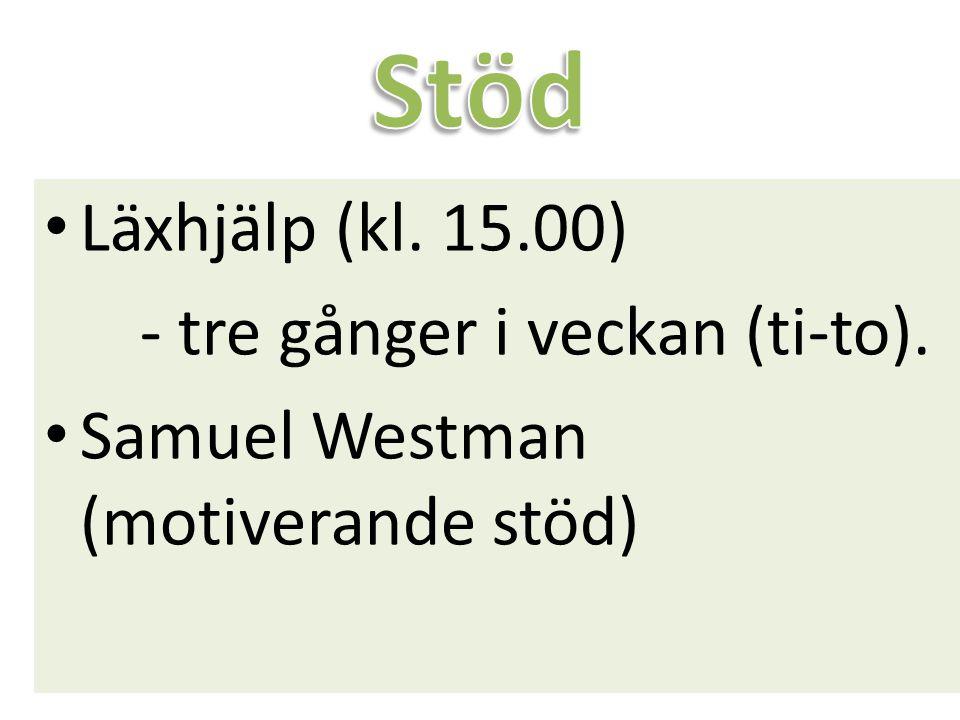 Stöd Läxhjälp (kl. 15.00) - tre gånger i veckan (ti-to).