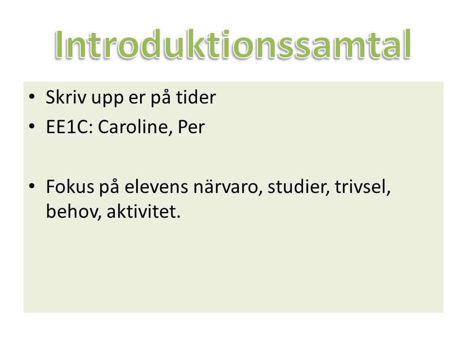 Introduktionssamtal Skriv upp er på tider EE1C: Caroline, Per