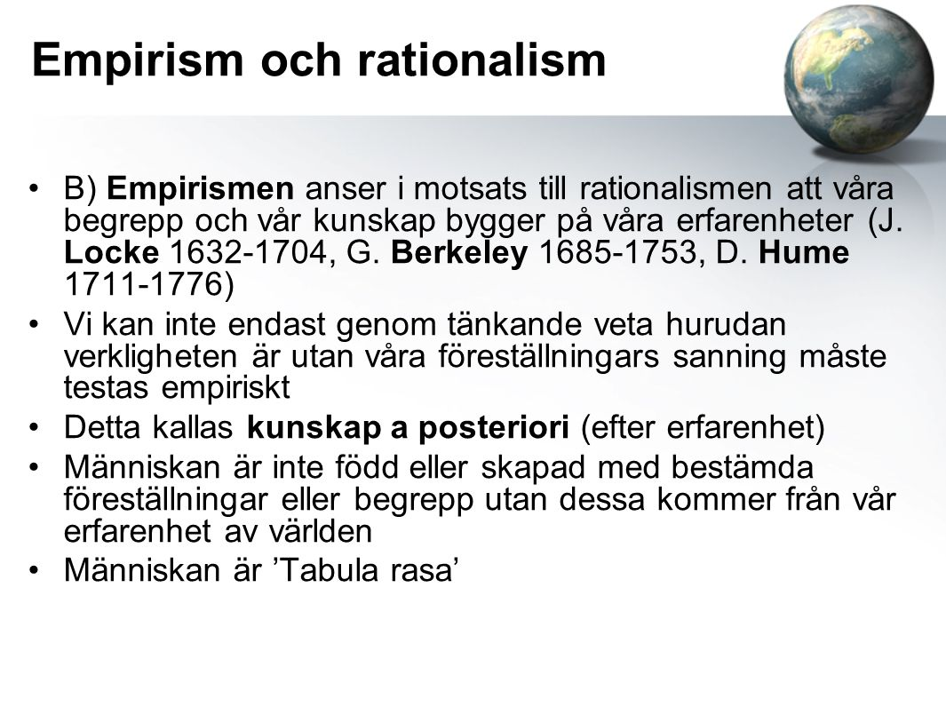 Empirism och rationalism