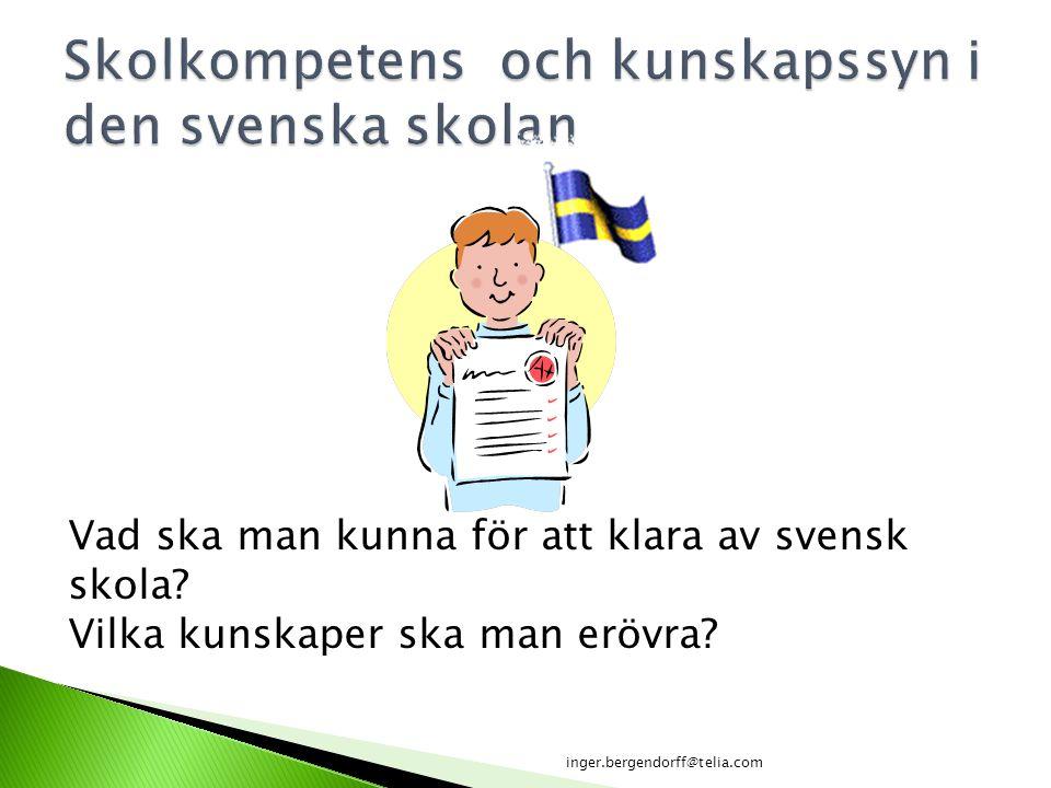 Skolkompetens och kunskapssyn i den svenska skolan