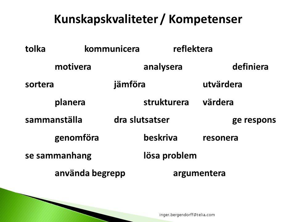 Kunskapskvaliteter / Kompetenser