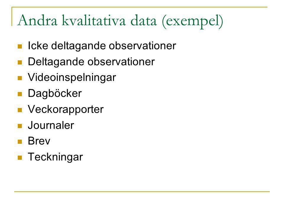 Andra kvalitativa data (exempel)