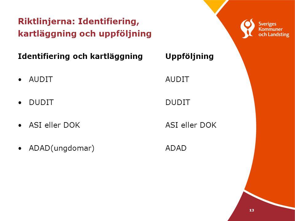 Riktlinjerna: Identifiering, kartläggning och uppföljning