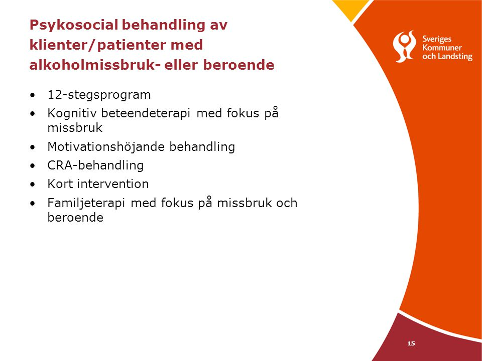 Psykosocial behandling av klienter/patienter med alkoholmissbruk- eller beroende