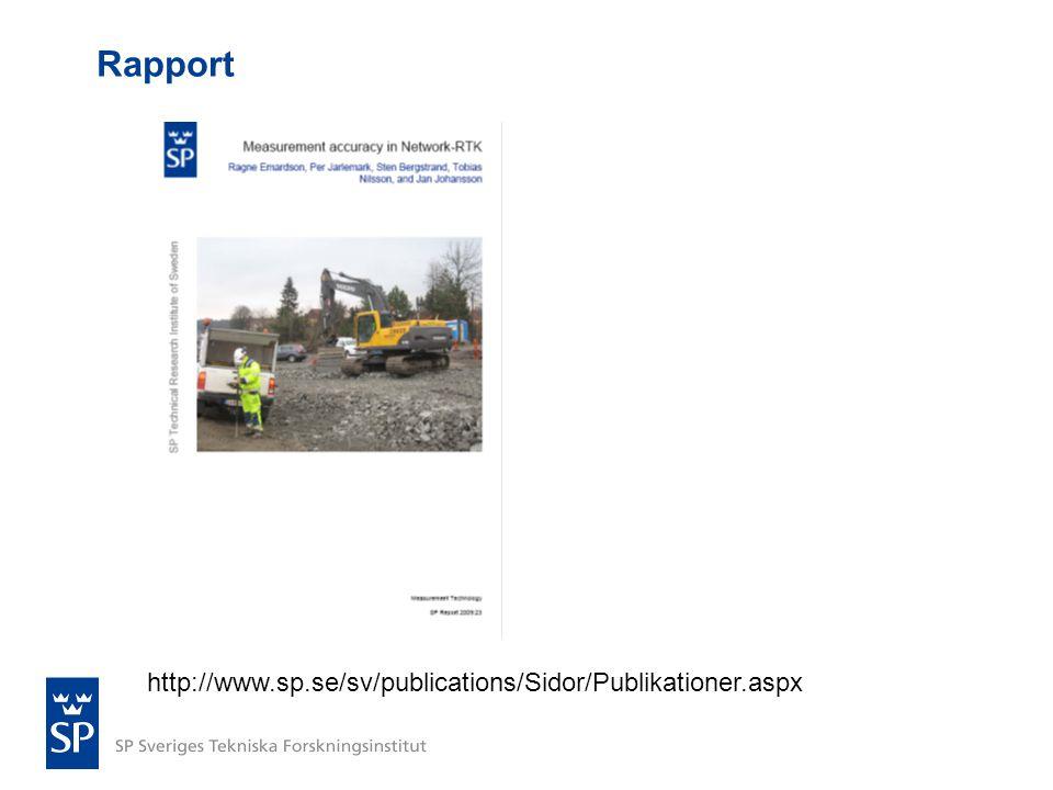 Rapport http://www.sp.se/sv/publications/Sidor/Publikationer.aspx