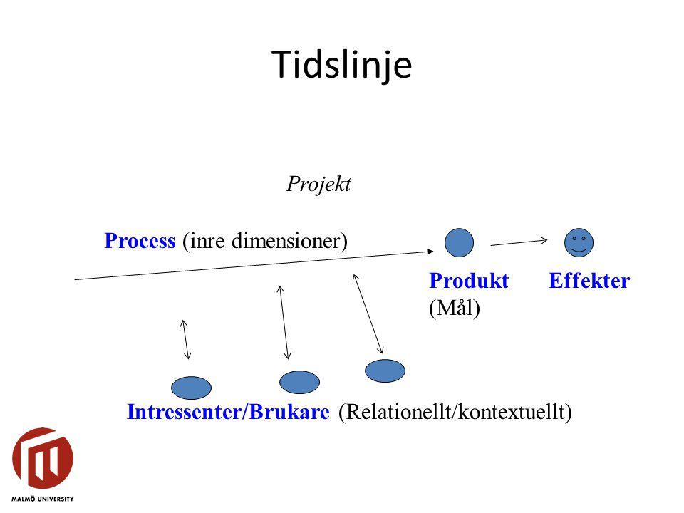 Tidslinje Projekt Process (inre dimensioner) Produkt (Mål) Effekter