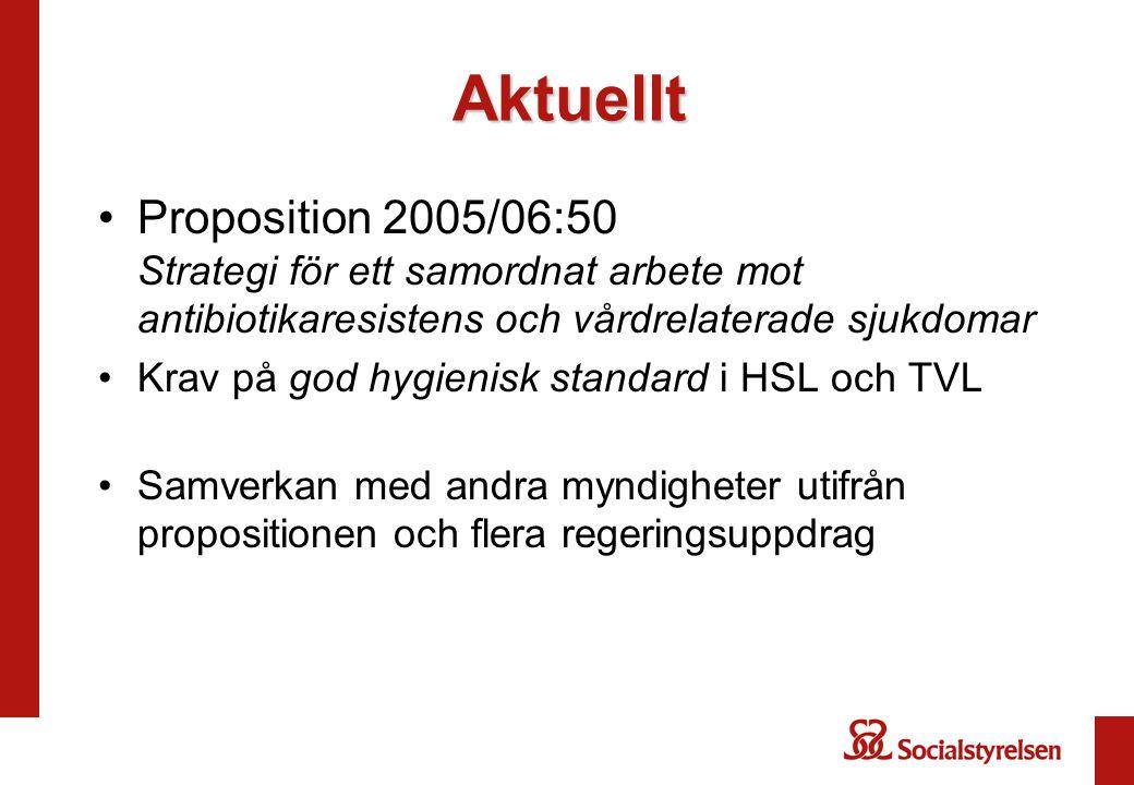 Aktuellt Proposition 2005/06:50 Strategi för ett samordnat arbete mot antibiotikaresistens och vårdrelaterade sjukdomar.
