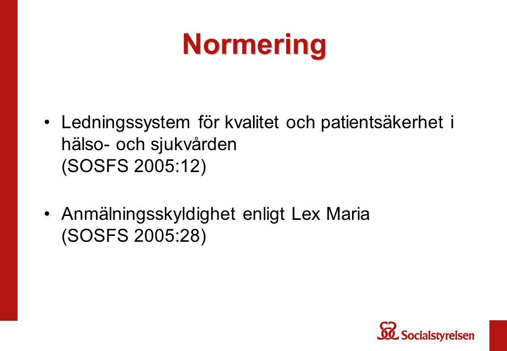 Normering Ledningssystem för kvalitet och patientsäkerhet i hälso- och sjukvården (SOSFS 2005:12)