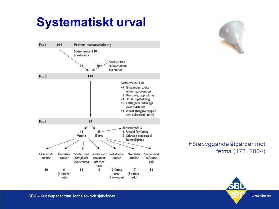 Systematiskt urval Förebyggande åtgärder mot fetma (173, 2004)
