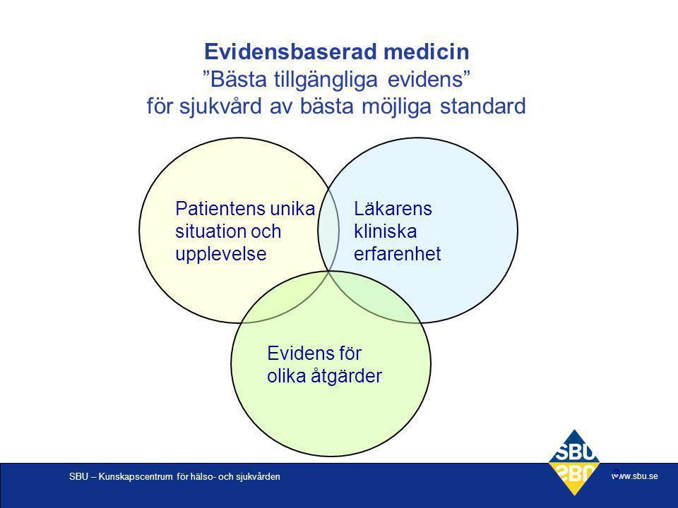 Evidensbaserad medicin Bästa tillgängliga evidens för sjukvård av bästa möjliga standard