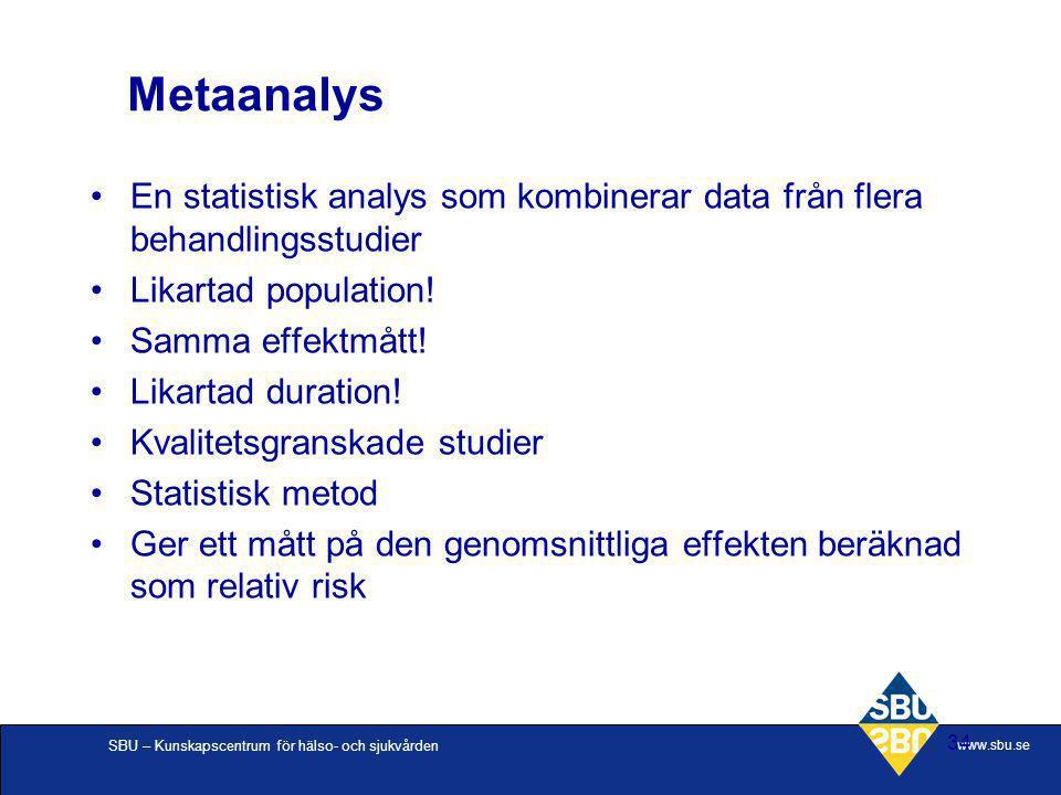 Metaanalys En statistisk analys som kombinerar data från flera behandlingsstudier. Likartad population!