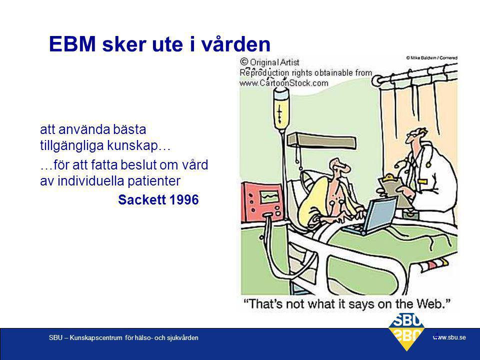 EBM sker ute i vården att använda bästa tillgängliga kunskap…