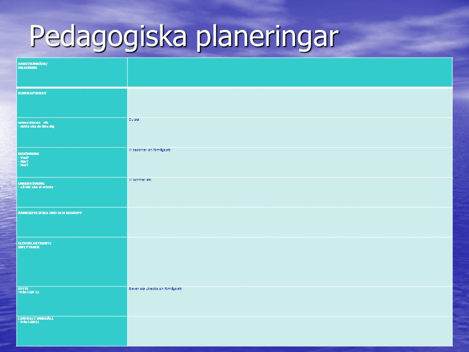 Pedagogiska planeringar