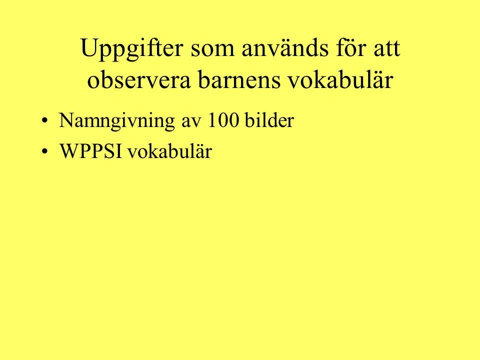 Uppgifter som används för att observera barnens vokabulär