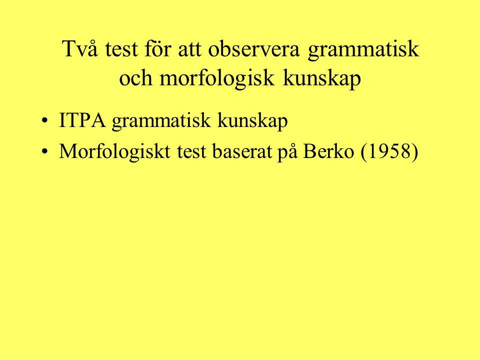 Två test för att observera grammatisk och morfologisk kunskap
