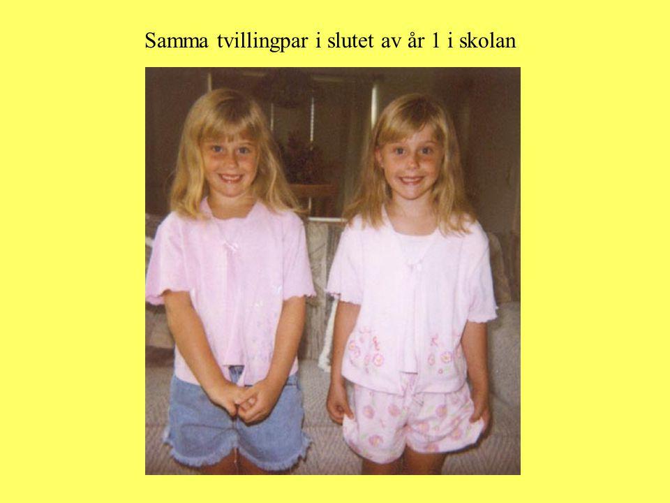 Samma tvillingpar i slutet av år 1 i skolan